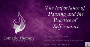 The Importance of Pausing and the Practice of Self-Soothing Contact